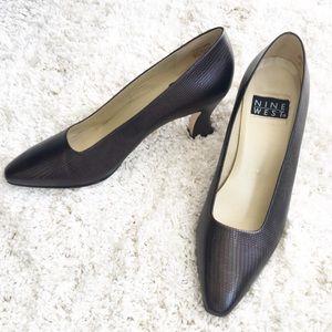 Nine West Brown Lizard Print Leather Heels